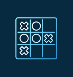Noughts and crosses colored linear icon tic tac vector