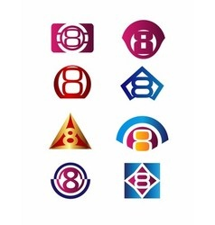 Number 8 logo icon design template elements vector image