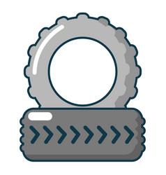 Paintball field tire heap icon cartoon style vector