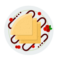 pancakes with chocolate topping and berries icon vector image