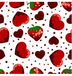 pattern with strawberries and hearts vector image