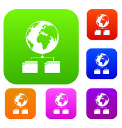 Planet and two folders set collection vector