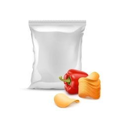 Potato Chips with Paprika and Plastic Foil Bag vector