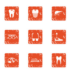 Prosthetic appliance icons set grunge style vector