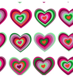 Purple green striped heart on white background vector