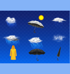 Rainy weather forecast icons realistic set vector