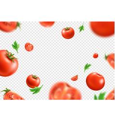 Realistic fresh red ripe tomato pattern vector