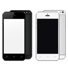 Realistic mobile phones with blank screen isolated vector