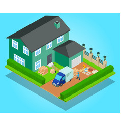 Relocation concept banner isometric style vector