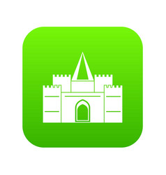 Residential mansion with towers icon digital green vector