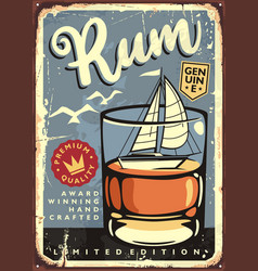 rum sign with glass drink vector image