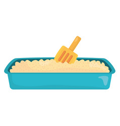 Sand box cat bath with shovel vector