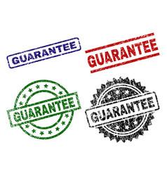 Scratched textured guarantee stamp seals vector