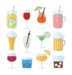 Set alcoholic drinks wine beer and cocktails vector