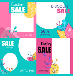 set easter sale discount sale 50 percent up to vector image