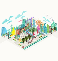 set isometric city social infographics vector image
