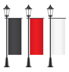 Set of lamposts with advertising flags vector
