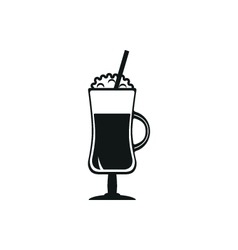 Simple black coffee cocktail icon style vector image