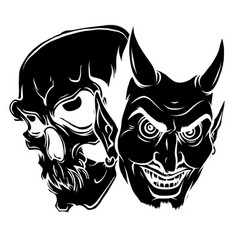 skeleton and devil head mascot vector image