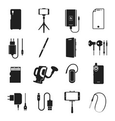 smartphone accessories icon set on white vector image