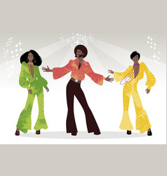 Soul party time group of man and two girls vector