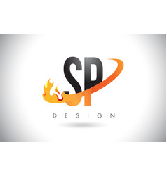 Sp s p letter logo with fire flames design and vector