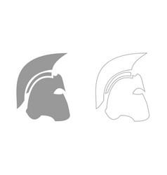 Spartan helmet grey set icon vector