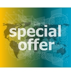 Special offer text on digital screen vector