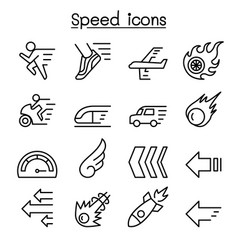 Speed icon set in thin line style vector