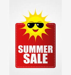 Summer sale icon with funny sun cartoon vector