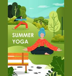 summer yoga poster design template flat vector image