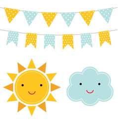 Sun and cloud cartoons vector