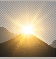 sunrise over the mountains dawn transparent vector image