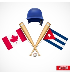 Symbols of Baseball team Canada and Cuba vector image