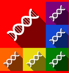 the dna sign set of icons with flat vector image