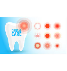 toothache icon pain circles bad tooth dental vector image