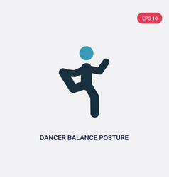 Two color dancer balance posture on one leg icon vector