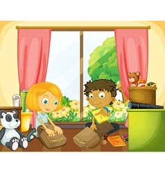 Two kids packing schoolbag in house vector