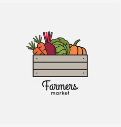 vegetables basket with organic farm eco vegetables vector image
