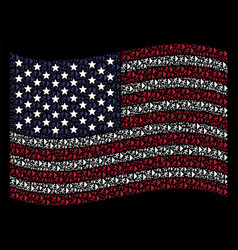 Waving american flag stylized composition of exit vector