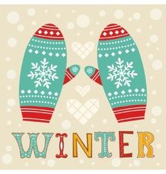 Winter mittens vector