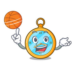 With basketball pocket vintage watch on a cartoon vector