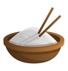 wood rice bowl icon cartoon style vector image