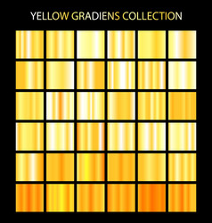 Yellow color gradients collection bright patterns vector