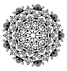 black and white circle lace pattern christmas vector image vector image
