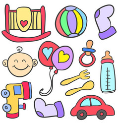 element object babies doodles vector image