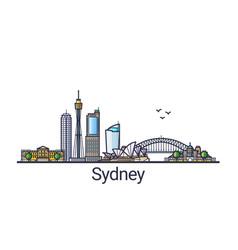 flat line sydney banner vector image