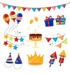 Happy Birthday Party Celebration Elements Set vector image