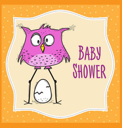 baby shower card template with funny doodle bird vector image