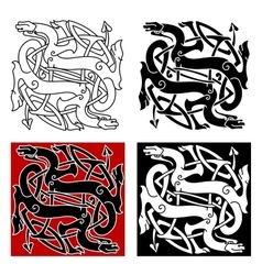 Celtic dragons pattern with tribal elements vector image